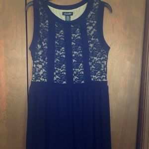 Navy and tan lace a line L dress